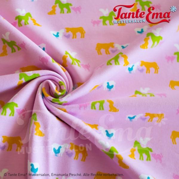 Jerseystoff Tierkinder rosa