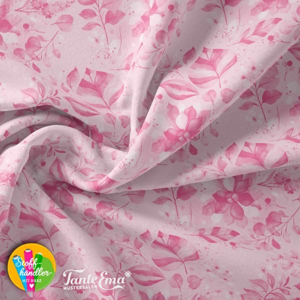 Jersey Stoff Blätterkranz rosa