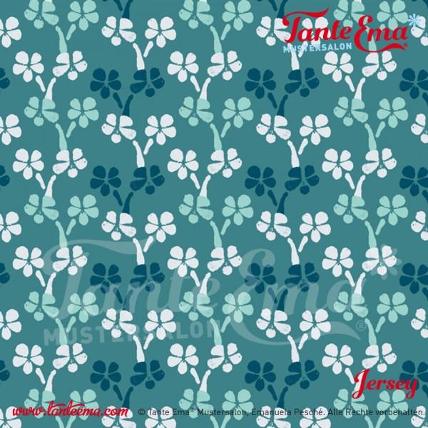 Jerseystoff Blumenreigen mint