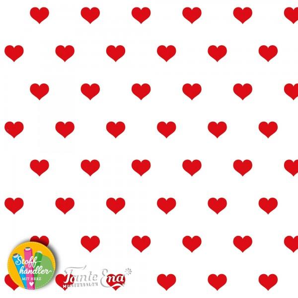 Jersey Stoff Herzliebe weiß mit roten Herzen