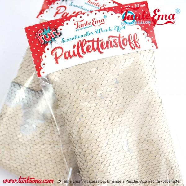 """Materialset """"Paillettenstoff """" mit Wende-Effekt, Farbe: beige/silber (mattiert)"""