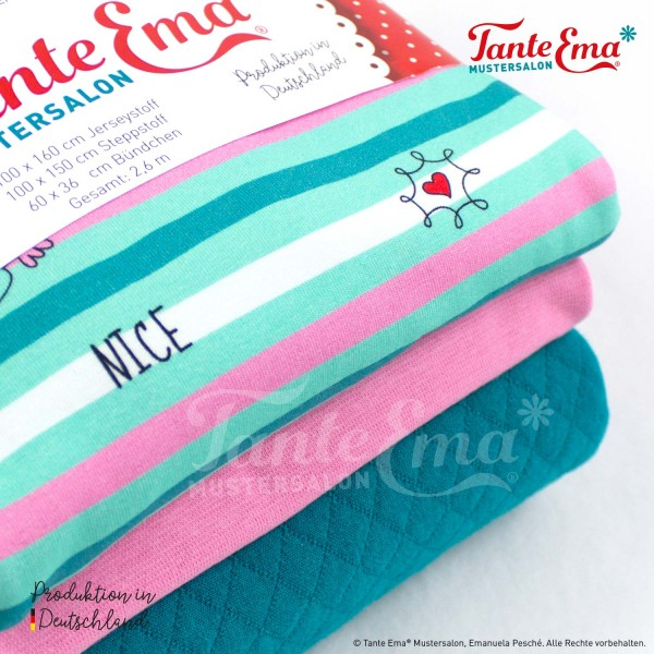Finn liebt Annie® Stoffset Nr. 6 Lovely Stripes bunt, Steppstoff petrol, Bündchen rosa