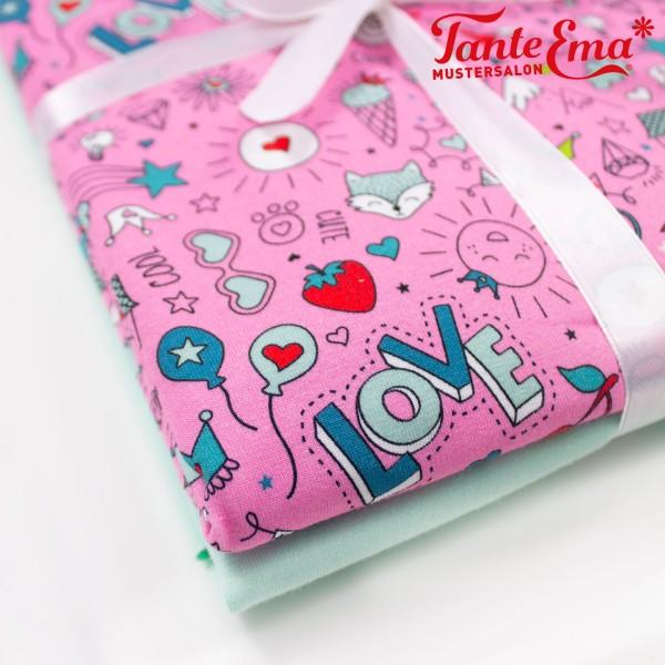 Stoffset Jersey Cute & cool pink, Jersey einfarbig mint