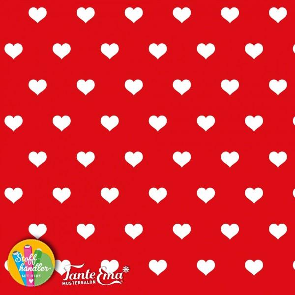 Jersey Stoff Herzliebe rot