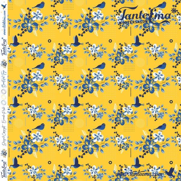 Jersey Stoff Blütenzeit gelb | Tante Ema® Mustersalon