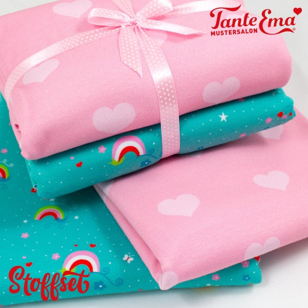 Stoffset Nr. 21 Jersey Stoffe Herzliebe rosa, Regenbogen mint