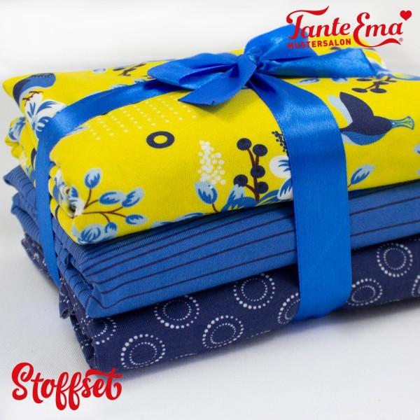 Stoffset Nr. 30, Jersey Stoffe Blumenzeit gelb, Streifenzauber blau, Kreispunkte dunkelblau