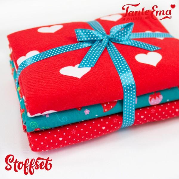 Stoffset Nr. 33, Jersey Stoffe Herzen rot, Erdbeerliebe petrol, Sternenherzen rot