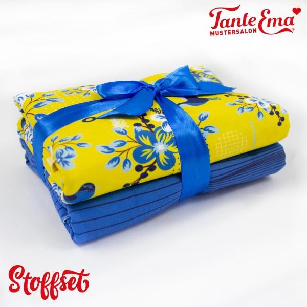 Stoffset Nr. 30 Jersey Stoff Blumenzeit gelb, Jersey Stoff Streifenzauber blau
