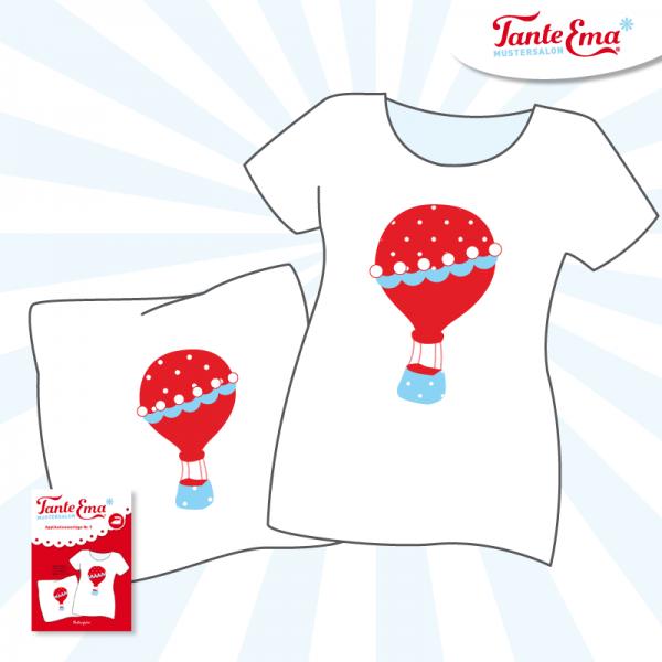 Tante Ema® Applikationsvorlage Nr. 9, Ballonfahrt Heißluftballon