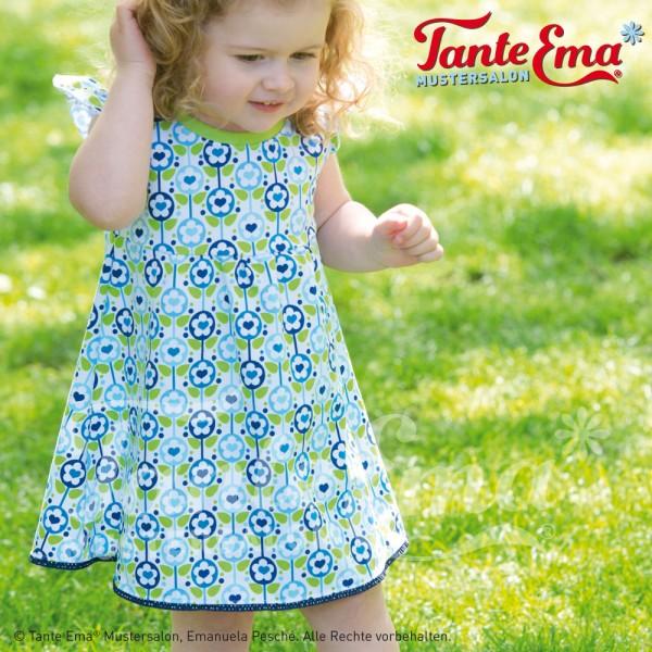 Digitales Schnittmuster Kinder-Kleid mit Flügelärmeln Größen 98 bis 128 mit Nähanleitung