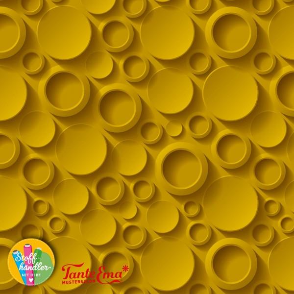 Jersey Stoff 3D Damen Kreise senf