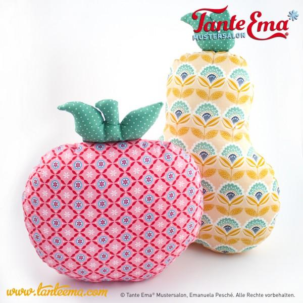 Digitales Schnittmuster Kissen, Tischsets und Kirschkernsäckchen in Apfel- und Birnenform mit Nähan