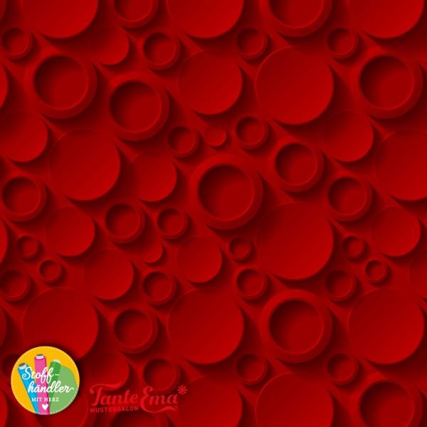 Jersey Stoff 3D Damen Kreise rot