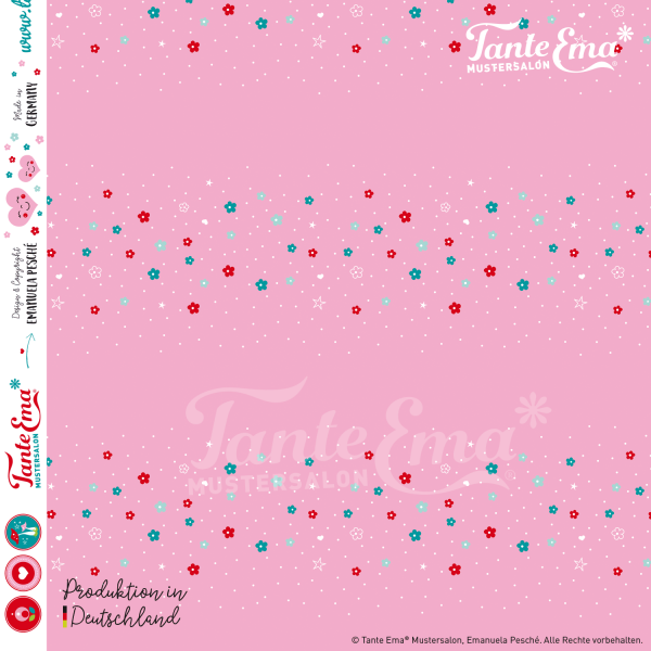 Jerseystoff Streublümchen rosa, Jersey Kinderstoffe