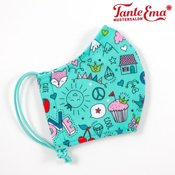 Kinder-Gesichtsmaske Mädchen 7-12 Jahre, Mund- und Nasenschutz, Behelfsmaske