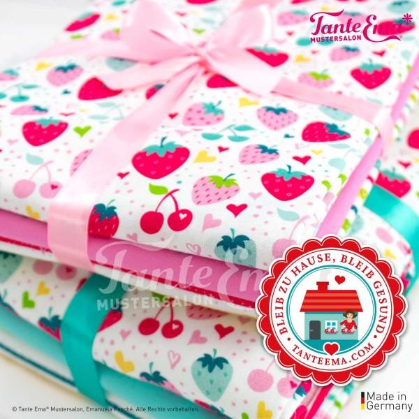 Erdbeeren, Erdbeere, Erdbeerstoff, Stoff, Stoffe, Streifen, Herzen, Bunt, Fröhlich, Jerseystoff, Jersey