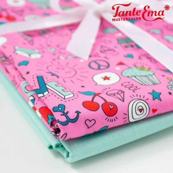 Stoffset Baumwolle Cute & cool pink, Baumwollstoff einfarbig hellmint